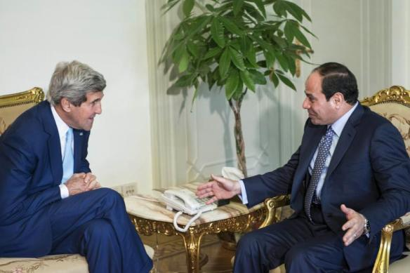 June 22, 2014: John Kerry meets Sisi in Cairo and gives him $572 million in military aid, days after pro-democracy activists including feminist Yara Sallam were arrested and abused