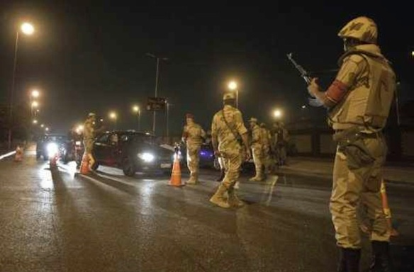 Military checkpoint in Cairo during the 2013 post-coup curfew