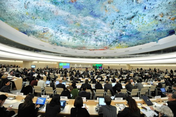 Main meeting chamber of the Human Rights Council, Geneva