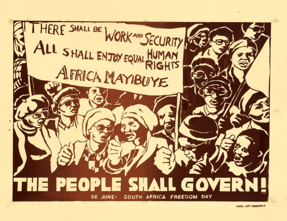 Medu Art Ensemble (designer: Judy Seidman), The People Shall Govern, screen print poster, Botswana/South Africa, 1982.