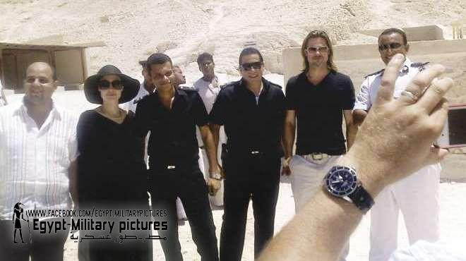 Brangelina and the boys: Angelina Jolie and Brad Pitt pose with Egyptian infantry battalion during a visit to Luxor, June 2012, less than a month before the military coup