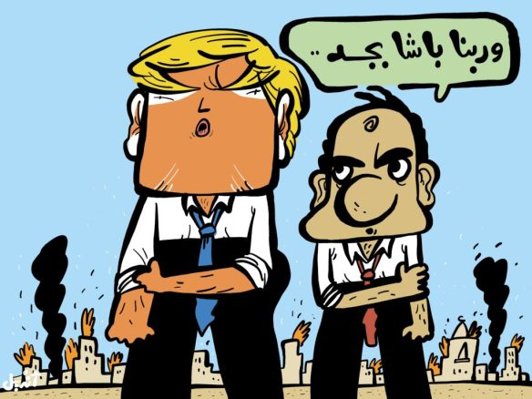 """Source of inspiration,"" cartoon by Andeel, Mada Masr, November 2016. Sisi: ""A true pasha, by God."""