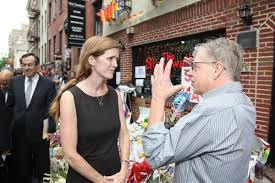 Gay Power II: UN Ambassador Samantha Power discusses LGBT rights with a man and his demonically possessed left arm outside the Stonewall Inn, New York, 2016. Photo: US Department of State