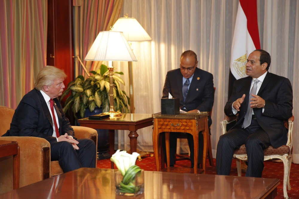 Donald Trump meets with  President Sisi at the Plaze Hotel during the UN General Assembly session in New York, September 19, 2016. Photo by Dominick Reuter/AFP